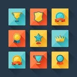 Trophy and awards icons set in flat design style Royalty Free Stock Images