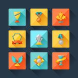 Trophy and awards icons set in flat design style Royalty Free Stock Photos