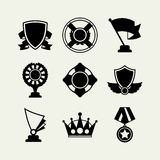 Trophy and awards icons set in flat design style Stock Photos
