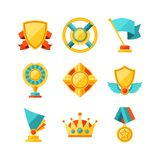 Trophy and awards icons set in flat design style Royalty Free Stock Photography