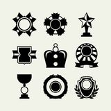Trophy and awards icons set in flat design style Stock Images