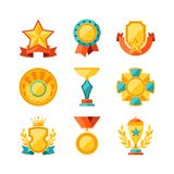 Trophy and awards icons set in flat design style Stock Photo