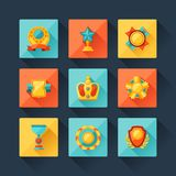 Trophy and awards icons set in flat design style Royalty Free Stock Image