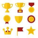 Trophy and Awards Icons Set in Flat Design Style. Stock Photo