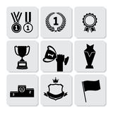 Trophy and Awards icons set. Flat design Vector illustration Stock Illustration