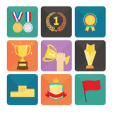 Trophy and Awards icons set. Flat design Vector illustration Royalty Free Stock Image