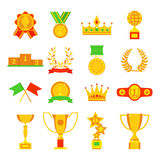 Trophy and awards icons set flat vector illustration. Award medal icons and gold award emblem cartoon award icons vector. Trophy and awards icons set flat Royalty Free Stock Image