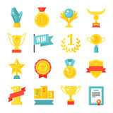 Trophy and awards icons set flat vector illustration. Royalty Free Stock Image