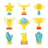 Trophy and awards icons set flat vector illustration. Award medal icons and gold award emblem cartoon award icons vector. Trophy and awards icons set flat Stock Images