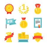 Trophy and awards icons set flat vector illustration. Award medal icons and gold award emblem cartoon award icons vector. Trophy and awards icons set flat Royalty Free Stock Images