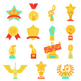 Trophy awards icons set flat vector illustration. Stock Images