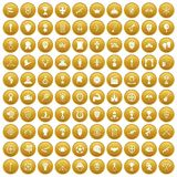 100 trophy and awards icons set gold. 100 trophy and awards icons set in gold circle isolated on white vector illustration vector illustration