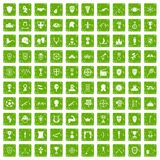 100 trophy and awards icons set grunge green Stock Image