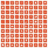 100 trophy and awards icons set grunge orange. 100 trophy and awards icons set in grunge style orange color isolated on white background vector illustration Royalty Free Stock Images