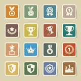 Trophy and awards icons set Stock Photo