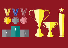Trophy and awards icons set, illustrations Royalty Free Stock Photo
