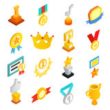 Trophy and awards icons set. Trophy and awards isometric 3d icons set Stock Photos