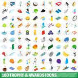 100 trophy and awards icons set, isometric style. 100 trophy and awards icons set in isometric 3d style for any design vector illustration Royalty Free Stock Images