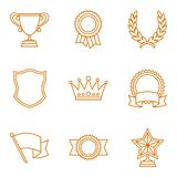 Trophy and awards icons set in linear style Stock Photography