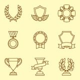 Trophy and awards icons set in linear style Royalty Free Stock Photos
