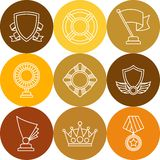 Trophy and awards icons set in linear style Stock Photo