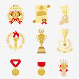 Trophy and awards icons set. Royalty Free Stock Images