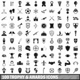 100 trophy and awards icons set in simple style Stock Photo