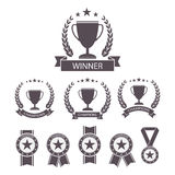 Trophy and awards icons set. Royalty Free Stock Image