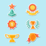 Trophy and awards icons set. Vector Royalty Free Stock Image