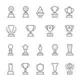 Trophy awards outline stroke icons set vector illustration