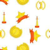 Trophy and awards pattern, cartoon style. Trophy and awards pattern. Cartoon illustration of trophy and awards vector pattern for web Stock Images