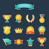 Trophy and awards stickers set Stock Images