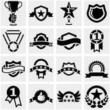 Trophy and awards vector icons set on gray. Stock Photography