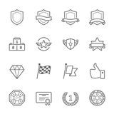 Trophy awards vector outline stroke icon set Stock Photo