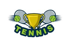 Trophy, ball, And racket, Tennis Logo Designs Inspiration Isolated on White Background. Trophy, ball, And racket, Tennis Logo Designs Inspiration Isolated on stock illustration