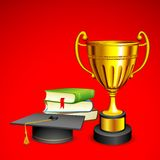 Trophy and Book. Vector illustration of book with mortar board and trophy Stock Photo