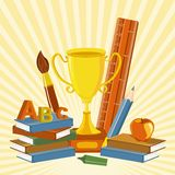 Trophy with Book Royalty Free Stock Photo
