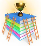 Trophy books and ladder 3d rendering. Trophy books and ladder competitional creative concept 3d rendering Royalty Free Stock Photo