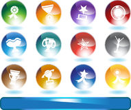 Trophy Buttons - round. Set of 12 award icons - round style Royalty Free Stock Photos