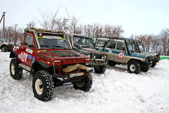 Trophy Challenge. UFA, RUSSIA - DECEMBER 18: Off-road vehicle NIVA #13 of team BASHOFFROAD during annual trophy raid Natural selection on December 18, 2010 in Royalty Free Stock Photo