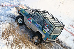Trophy Challenge. UFA, RUSSIA - DECEMBER 18: Off-road vehicle UAZ #35 of team ROTAS during annual trophy raid Natural selection on December 18, 2010 in Ufa Stock Images