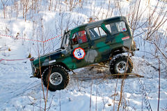 Trophy Challenge. UFA, RUSSIA - DECEMBER 18: Off-road vehicle UAZ #3 of team ROTAS during annual trophy raid Natural selection on December 18, 2010 in Ufa Stock Images