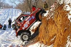 Trophy Challenge. UFA, RUSSIA - DECEMBER 18: Off-road vehicle NIVA #13 of team BASHOFFROAD during annual trophy raid Natural selection on December 18, 2010 in Stock Photos