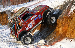 Trophy Challenge. UFA, RUSSIA - DECEMBER 18: Off-road vehicle NIVA #13 of team BASHOFFROAD during annual trophy raid Natural selection on December 18, 2010 in Stock Images