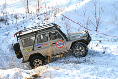 Trophy Challenge. UFA, RUSSIA - DECEMBER 18: Off-road vehicle UAZ (No. 199) of team ROTAS during annual trophy raid Natural selection on December 18, 2010 in Ufa Royalty Free Stock Photos