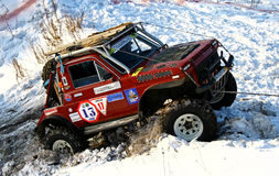 Trophy Challenge. UFA, RUSSIA - DECEMBER 18: Off-road vehicle Lada Niva (No. 13) of team BASHOFFROAD during annual trophy raid Natural selection on December 18 Stock Photo