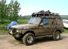 Trophy Challenge. PAVLOVKA, RUSSIA - JUNE 26: Referee's off-road vehicle Land Rover Discovery takes part at the annual trophy raid 23 hours of Nuriman on June 26 Royalty Free Stock Photography