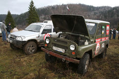 Trophy Challenge. MINYAR, RUSSIA - OCTOBER 31: Off-road vehicle UAZ (No.10) takes part at the annual trophy challenge Samhain on October 31, 2009 in Minyar Stock Photos