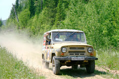 Trophy Challenge. PAVLOVKA, RUSSIA - JUNE 26: Off-road vehicle UAZ (No. 10) of Team ROTAS takes part at the annual trophy challenge 23 hours of Nuriman on June Stock Photography