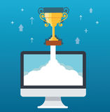 Trophy on cloud and computer, startup business concept illustration Royalty Free Stock Images